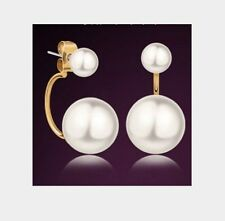 Titanium Steel Stud Earrings 18K Gold Double White Freshwater Pearl Gift Box C6