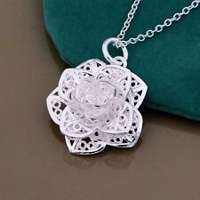 Womens 925 Sterling Silver Plated Rose Flower necklace & Pendant 19 inches /48cm