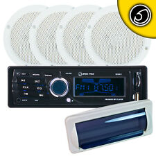 "Bass Face Marine Kit 6.5"" Inch 16.5 cm 4 x Speakers And USB Mp3 AUX Stereo Radio"
