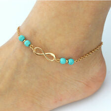 Turquoise Beads Gold Chain Anklet Bracelet Barefoot Sandal Beach Foot Jewelry