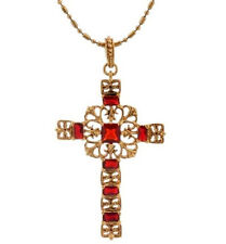 """Camrose & Kross Jacqueline Kennedy Simulated Ruby Cross 18"""" Necklace QVC"""