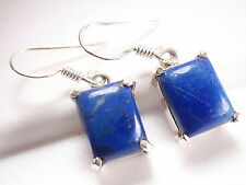 Blue Lapis Earrings Drop Dangle Rectangle Four-Prong 925 Sterling Silver New