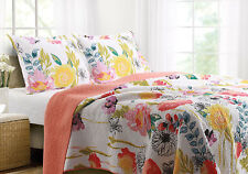 Watercolor Dream 3pc King Quilt Set White Red Chic Reversible Floral Print