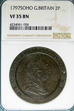 1797 NGC VF35 BROWN SOHO Great Britain 2P 2 Pence!! #B4802