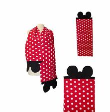 Minnie Ears Red Polka Dot Scarf Fleece Winter Warm Wrap Unisex Women Kids Girls