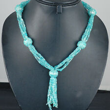6 Strands Top Quality Natural Untreated Neon Blue Apatite Designer Necklace