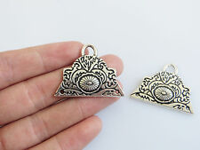 10 Antique Silver Triangle Connector Pendant, Ethnic Necklace Jewellery Findings