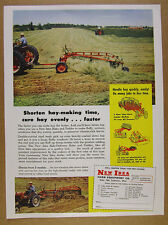 1953 New Idea Farm Equipment Hay Rake & Tedder haying photo vintage print Ad