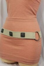 Women Silver Metal Charm Fashion Waist Hip Belt Beige Suede Leather Plus M L