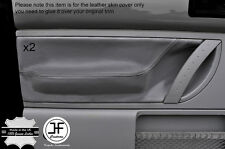 BLACK STITCH GREY LEATHER 2X FRONT DOOR CARD TRIM  COVERS FITS VW BEETLE 98-11