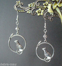 Cute Cat & Mouse Dangly Silver Plated Earrings