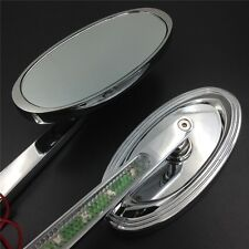 For Harley Low Rider V-Rod CHROME LED Turn signal Oval style Racing mirrors