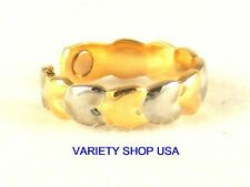 Hearts Alloy Magnetic Adjustable Band Multi-Colored Ring 2Tone 2,000 Gauss R061