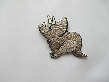 #2637SB Brown Triceratops Dinosaur Animal Embroidery Iron On Applique Patch-S