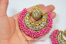 Big Pink Tikka Earrings Set Bellydancer Bollywood India