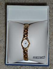 Seiko Women's 17mm Gold Steel Bracelet & Case Quartz Watch SXJZ44