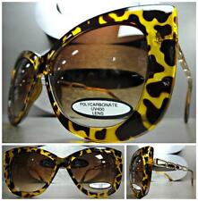 UNIQUE VINTAGE EXAGGERATED CAT EYE Style SUN GLASSES Tortoise & Gold Link Frame