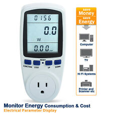 USA Plug-in Power Energy Watt Voltage Amps Meter Electricity Usage LCD Monitor