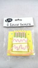 "4 Voila FAVOR BOXES Cake With Candles 3""x3"" NEW SEALED"