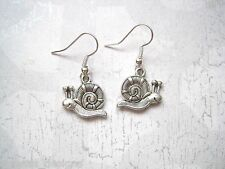 *CUTE SNAIL* DOUBLE SIDED Tibetan Silver Earrings SP XMAS GIFT Bag SILVER PLATED