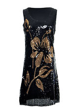 Anna-Kaci S/M Fit Black and Gold Hibiscus Flower All Over Sequined Tank Dress