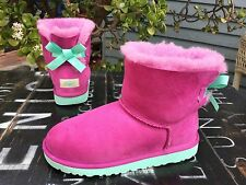 $150 UGG Australia Mini Bailey Bow In VPNK Suede Winter Boots Big Kids US 3