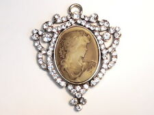 1 - 75mm X 60mm CLEAR CRYSTAL STUDDED VICTORIAN CAMEO PENDANT IN ANTIQUED BRASS