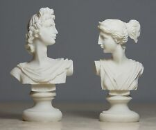 Set Twins Apollo and Artemis Greek God Bust Alabaster Statue Sculpture 4.3΄΄