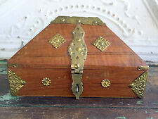 Vintage Wood Wooden Box Chest With Brass Pyramid Dome Triangle Shape