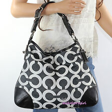 NEW Coach Peyton Canvas Signature OP Art Satchel Hobo Bag 14512 Black White RARE