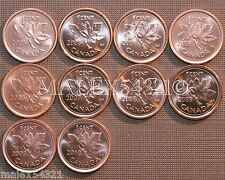 2005 TO 2010 BU CANADA 1 CENT MINT STATE (10 COINS)   FREE $HIPPING IN CANADA!