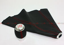 M10 X 1.25 BLK LEATHER CHROME SHIFTER KNOB+ RED STITCHING SHIFT BOOT FOR MAZDA