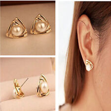 Triangle Fashion Compact Pearl Ear Stud Lovely Elegant Earrings Gift Jewelry