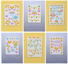 HAPPY BIRTHDAY YELLOW COUNTED CROSS STITCH RIVERDRIFT GREETINGS CARDS KIT