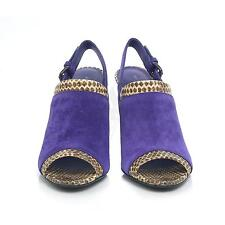 Bottega Veneta Violet Python Leather Suede Heel Sandals 7.5 (US) / 37.5 (EU) NIB