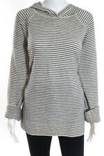 Vince White Black Wool Long Sleeve Striped Hooded Sweater Size Extra Large