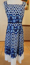 Adrianna Papell - Crepe de Chine - Blue / White - Size 12-14 - Dress - Races
