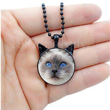 Photo Cabochon Glass charm Black Necklace(cute blue eyes cat)with ears pendant