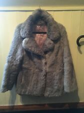 Real Fur Coat. Size 12/14, Rabbit Fur, Light Grey, Good Condition, VINTAGE.