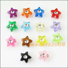 80 New Charms Mixed Acrylic Plastic Five-pointed Star Spacer Beads 9mm