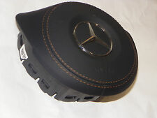 MERCEDES W205 W218 CLS C250 C300 C350 S63 AMG DRIVER AIR BAG LEATHER COVER BLACK