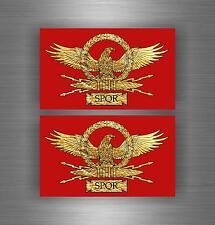 2 x autocollant drapeau de voiture bouclier airsoft decal spqr armoiries légions...