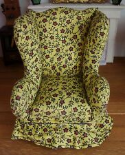 Vintage Artisan Miniature Upholstered Floral Wing Chair Dollhouse Furniture