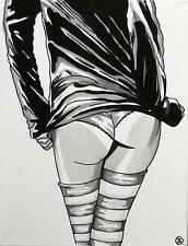 Erotic Pop Art Original Oil Painting by Terry P Wylde : Pippa's Long Stockings