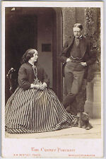 CABINET CARD Photograph Gentleman & lady with Pet Dog by Bentley of Buxton