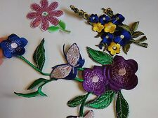 3 embroidered flower sequin applique patch motif iron sew on embellishment UK