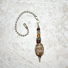 Middle Eastern Style rustic clay Ceiling Fan Light Lamps Pull Chain switch