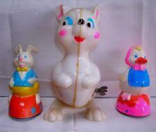 """Vintage 5 3/4"""" High Wind Up Rabbit-White-Jumps-2 Friction-Chicken-Rabbit"""