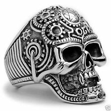 New design 316L stainless steel flower death skull bone skull ring size7 Jewelry
