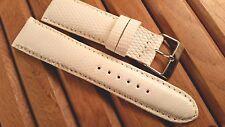 24 mm Genuine Lizard Watch Strap White - Made in the U.S.A.